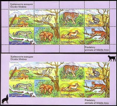 Tajikistan Predatory Animals of Middle Asia 2 Sheetlets imperf and perf RARE