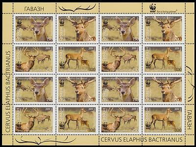 Tajikistan WWF Bactrian Deer Sheetlet of 4 sets SG#388/91 SC#344-47 MI#527-30