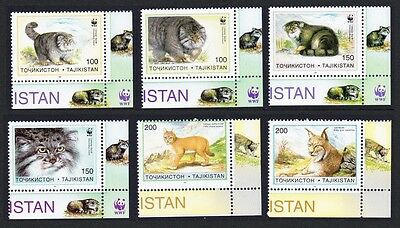Tajikistan WWF Pallas's Cat 6v Bottom Right Corners SG#90/95 SC#92-97 MI#94-99