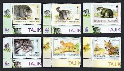 Tajikistan WWF Pallas's Cat 6v Bottom Left Corners SG#90/95 SC#92-97 MI#94-99