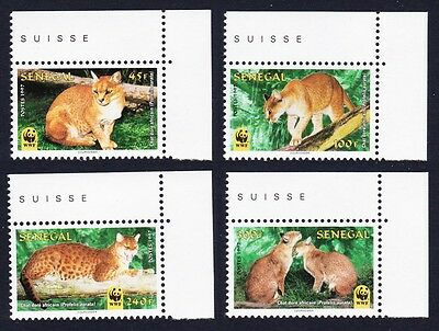Senegal WWF African Golden Cat 4v Top Right Corners with margins SG#1496/99