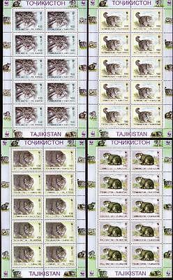Tajikistan WWF Pallas's Cat 4 Sheetlets of 10 stamps each 10 sets SG#90/93