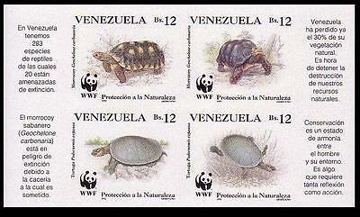 Venezuela WWF Red-footed Tortoise & River Turtle 4 imperforated stamps in block