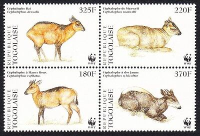 Togo WWF West African Duikers 4v in block 2*2 SC#1720 a-d MI#2456-59