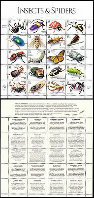 USA Insects and Spiders Sheetlet of 20v SG#3673/92 SC#2251 a-t