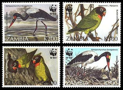 Zambia WWF Saddlebilled Stork & Black-cheeked Lovebird 4v SG#754/57 SC#654-57