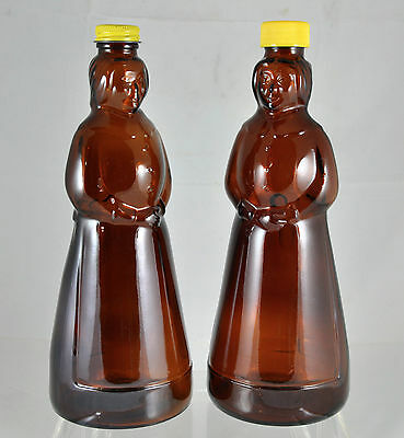 """Pair (2) of Vintage Mrs Butterworth Syrup Bottles - 10"""" Amber Glass with Caps"""