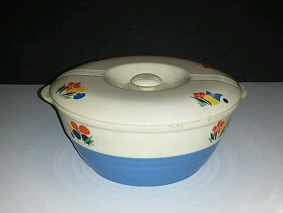 Vintage 1940s UNIVERSAL POTTERIES Cambridge, O. Blue CIRCUS Covered CASSEROLE