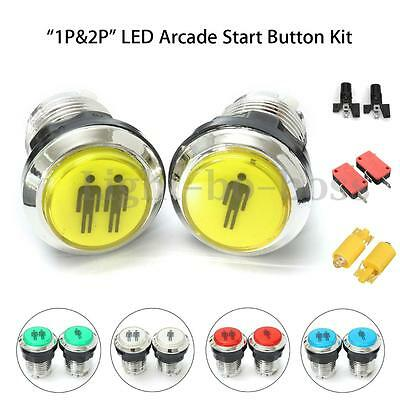 1P & 2P LED Illuminated Push Start Buttons Switch For Arcade DIY Controller