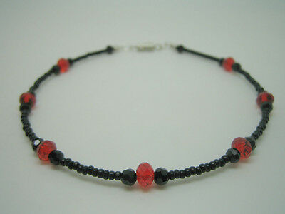Black and Red Bead Anklet