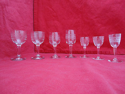 Etched Glassware Job Lot of 7 Glasses