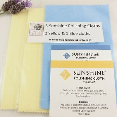 3 Sunshine Polishing Cloths [2 Original Yellow & 1 Blue Soft] Silver Gold & More