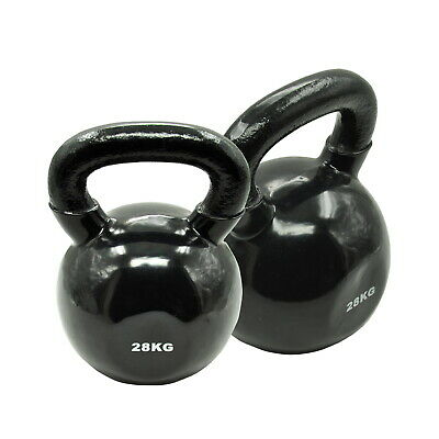 28KG x 2 = TOTAL 56KG IRON VINYL KETTLEBELL WEIGHT GYM STRENGTH TRAINING