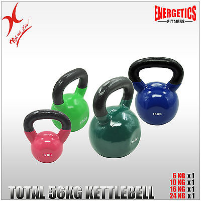 6Kg + 10Kg + 16Kg + 24Kg = Total 56Kg Iron Vinyl Kettlebell Weight Training