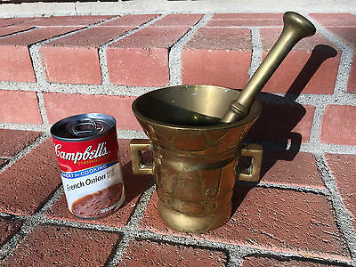 LARGE Vintage Brass Mortar and Pestle DANISH Apothecary HEAVY 6.4 Pounds STAMPED