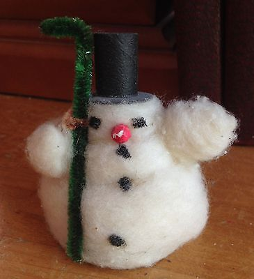 Vintage Japan Cotton Snowman with Top Hat and Broom