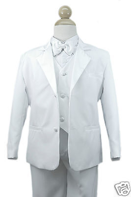 Baby Toddler Boy Christening Communion Wedding Formal Party Suit White Suit S-20