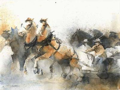 """Draft Horse Greeting Card - """"The Pull"""" by Watercolor Artist Chris Rankin"""