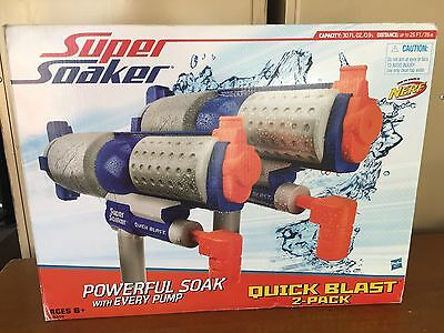 Brand New NERF Super Soaker QUICK BLAST Water Pistol BLASTER 2 Pack COLLECTABLE