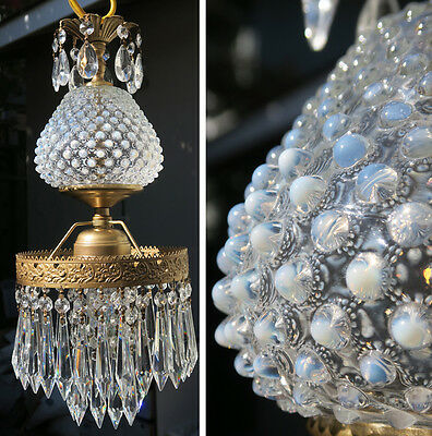 1o2 Vintage Kitchen Dining room light brass tole Fenton Glass Crystal Lamp old
