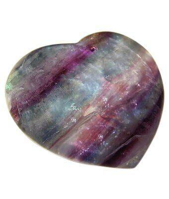 Fluorite Stone Carved 3 Cms Heart Shape A+++ Quality Loose Gemstone