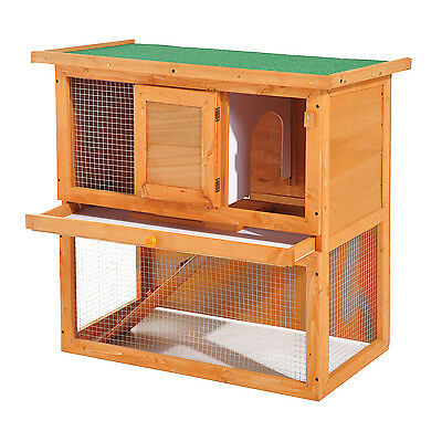 "Pawhut 35"" 2-Tier Wooden Rabbit Hutch Pet Cage Run Backyard Vintage Yellow"