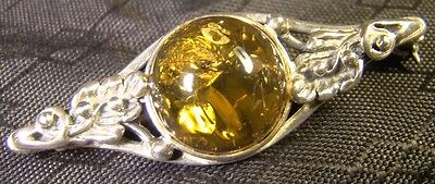 Sterling Silver Victorian Amber Fancy Leaves Pin Brooch