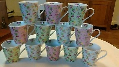 Set of 12 Waterside Multi Floral Chintz Design Fine China Mugs. New Boxed