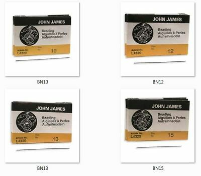 John James Beading Needles - 25 pk - choose from sizes 10, 12, 13 & 15
