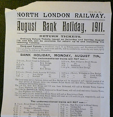 NORTH LONDON RAILWAY hb 1911 re Cancelled Trains