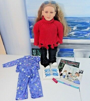 Lot: RARE 2003 MY TWINN Poseable Doll w/Original Outfit EVIL PINK EYES w/Extras