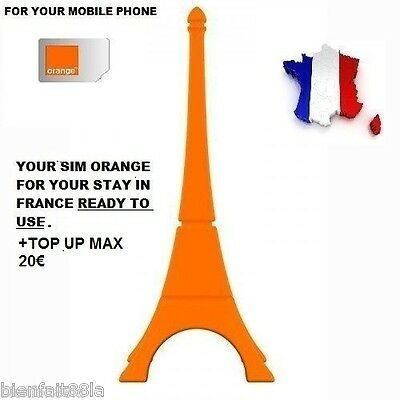 New! Ready To Use  French Simcard Orange+ Top Up Max/ Pay As You Go