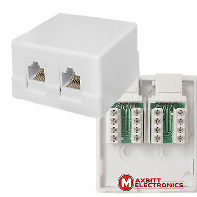 RJ45 8P8C UTP Double Port Surface Mounted Box Cat5e Wall Socket