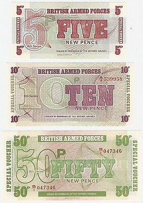 Great Britain - British Armed Forces 5 10 50 Pence 1972 UNC Banknote Set - 3 pcs