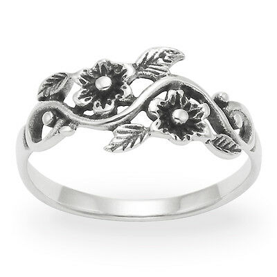 Sterling Silver Ring Flowers and Leaf Thumb & Finger Size N P Q R L O S