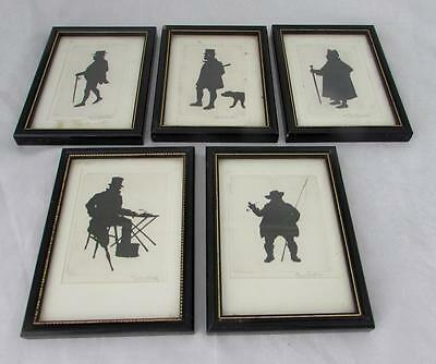 Five silhouette pictures of Dickens characters in Hogworth frames. 11x15cm