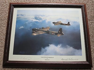 RAF Hamish Mahaddie signed print Stirlings Outward bound by artist Robert Taylor