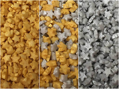 Edible Micro Tiny Gold Silver Sugar Star Cupcake Cake Sprinkles Decorations 20g