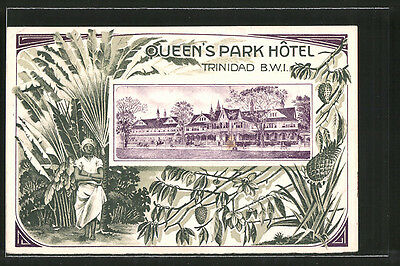 alte Lithographie Trinidad, Queen´s Park Hotel 1913
