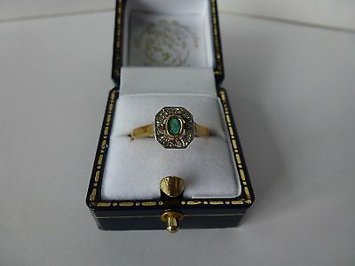 9ct 9carat Yellow Gold Antique Style Emerald & Diamond Cluster Ring, Size O