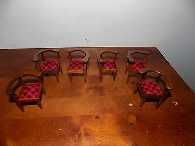 Lot of 6 Vintage Dining Room Arm Chairs 1:12 Dollhouse Miniature Doll Furniture