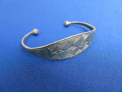 NIGER African Ethnic Jewelry Tuareg Silver ETCHED  BRACELET GOLD TINT E