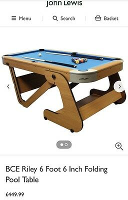 "Riley Folding Pool Table 6ft 6"" With Extra Snooker Balls"