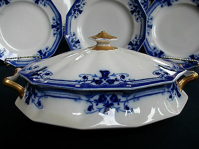 JOHNSON BROTHERS ROYSTON-FLOW BLUE c1910 COVERED SERVING BOWL-EXCELLENT! BEAUTY!
