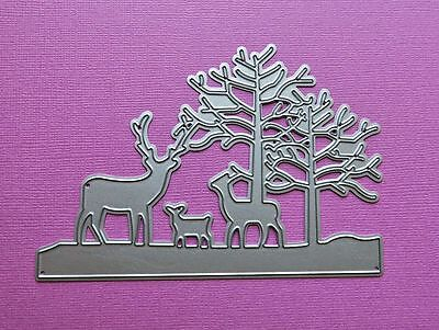 Die cutting - matrice de coupe - cerf et arbres - hiver - deers and trees