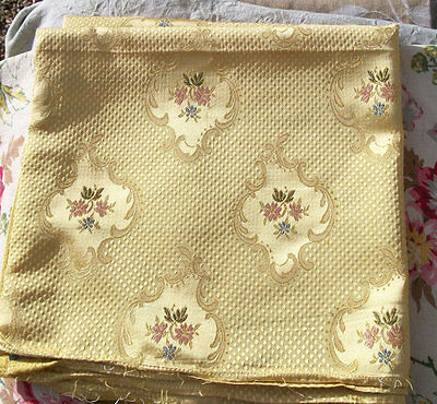 Vintage French Fabric Buttercup Yellow Gold Woven Silk Golden Text Satin Materia