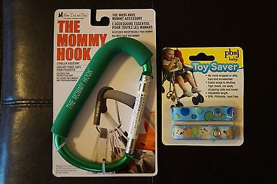 The Mommy Hook, Green, and Toy Saver FOR STROLLERS ETC,****NEW***