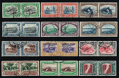 South West Africa 1931 pictorials set, used pairs (SG#74/85)