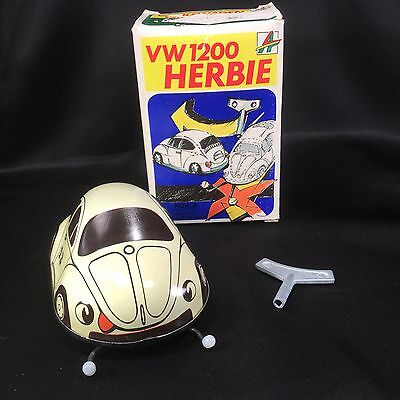 Kovap VW 1200 Wind Up Key Metal Toy HERBIE Kovap Cream Volkswagen