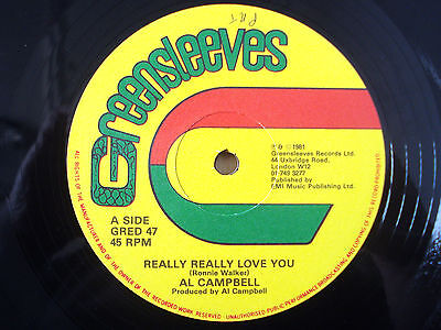 """Al Campbell Really Really Love You ♫LISTEN♫ Greensleeves UK 12"""" GRED47 1981 EX"""
